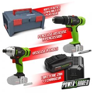 Kit 2 machines sans fil 20V + coffret -Constructor